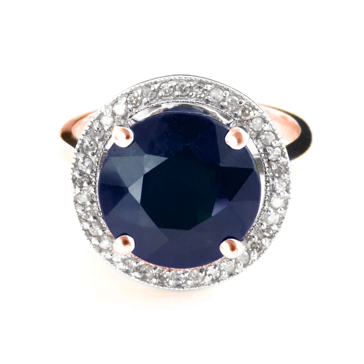Sapphire & Diamond Halo Ring in 9ct Rose Gold