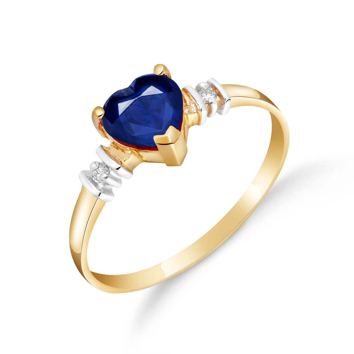 Sapphire & Diamond Heart Ring in 18ct Gold
