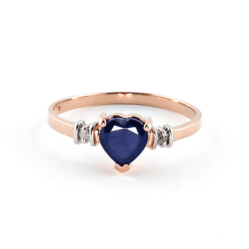 Sapphire & Diamond Heart Ring in 18ct Rose Gold