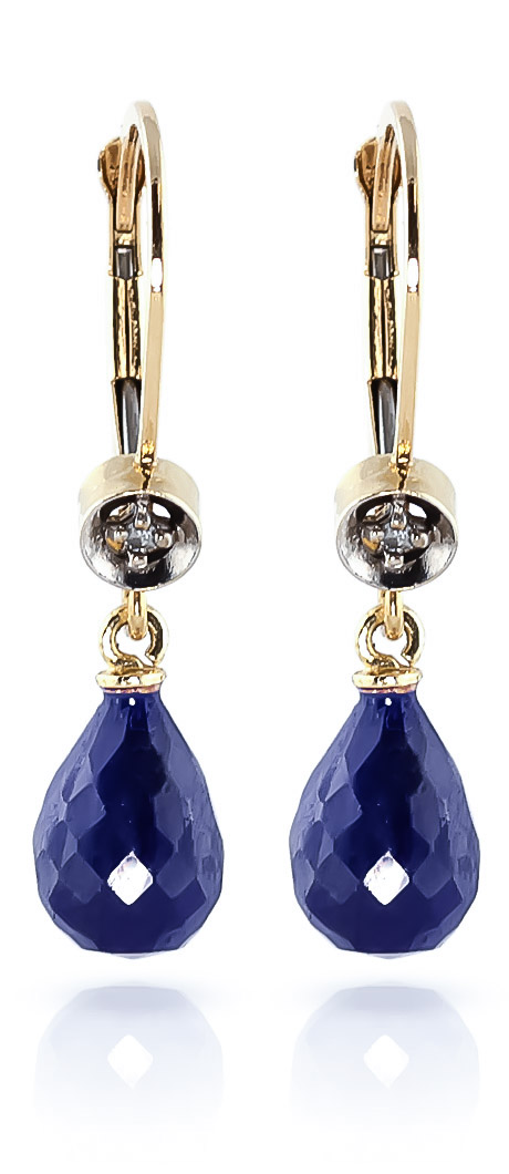 Sapphire & Diamond Illusion Drop Earrings in 9ct Gold