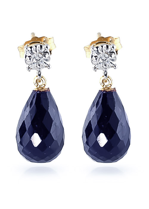 Sapphire & Diamond Illusion Stud Earrings in 9ct Gold