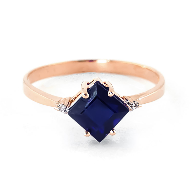 Sapphire & Diamond Princess Ring in 18ct Rose Gold