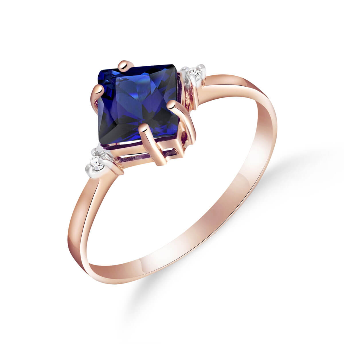 Sapphire & Diamond Princess Ring in 9ct Rose Gold