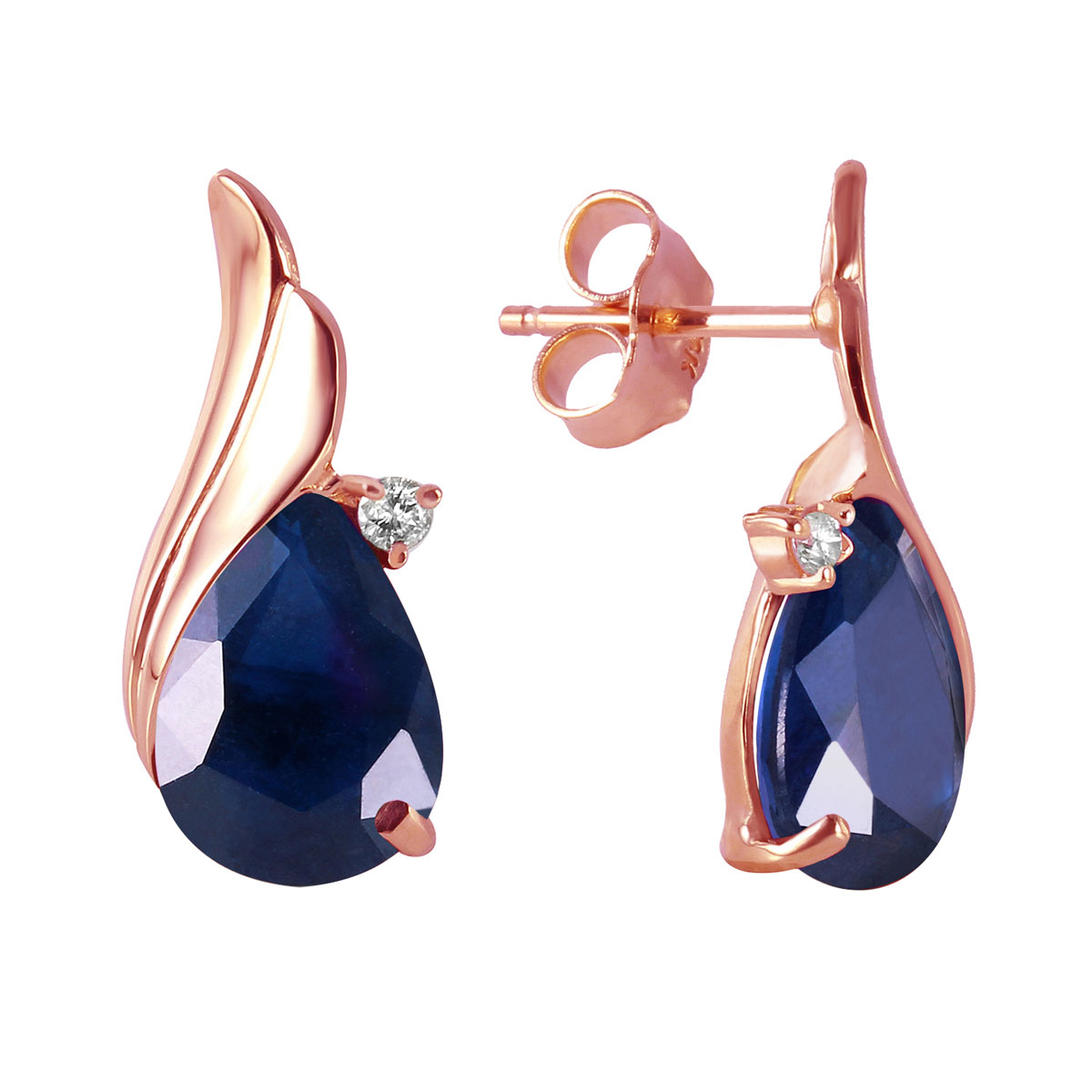 Sapphire & Diamond Stud Earrings in 9ct Rose Gold