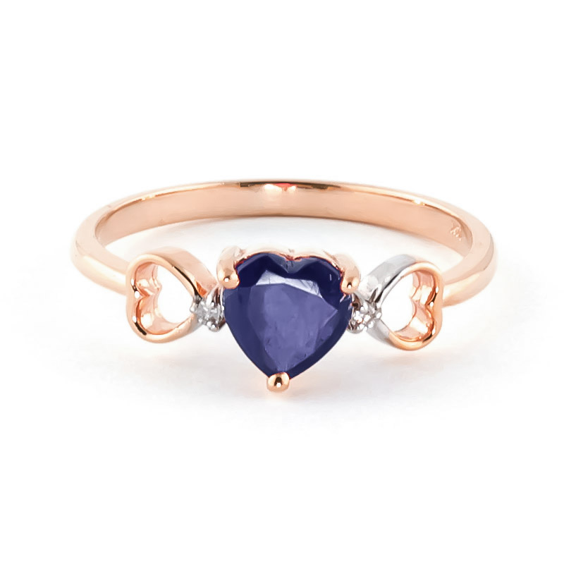 Sapphire & Diamond Trinity Ring in 18ct Rose Gold