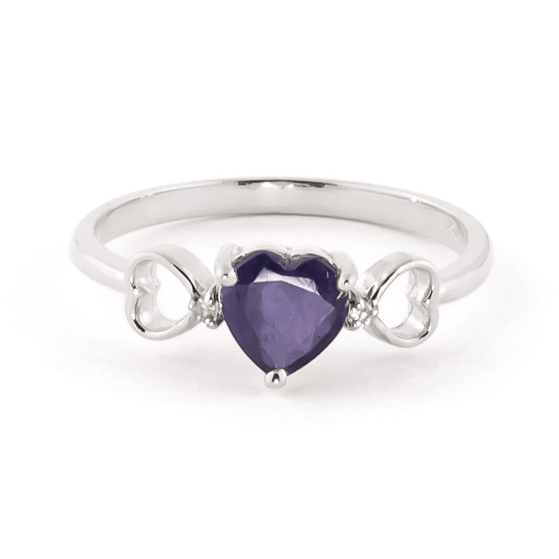 Sapphire & Diamond Trinity Ring in Sterling Silver
