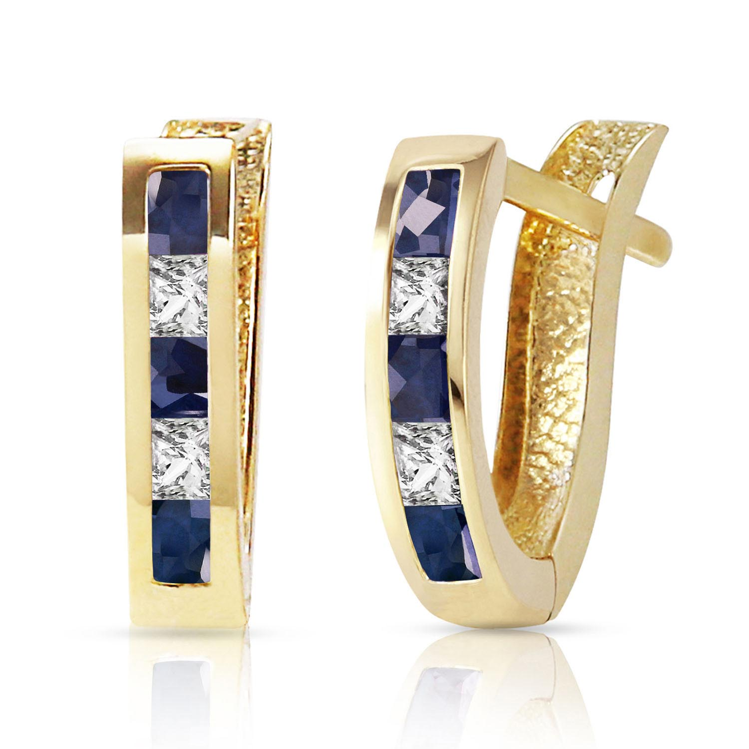 Sapphire & White Topaz Acute Huggie Earrings in 9ct Gold