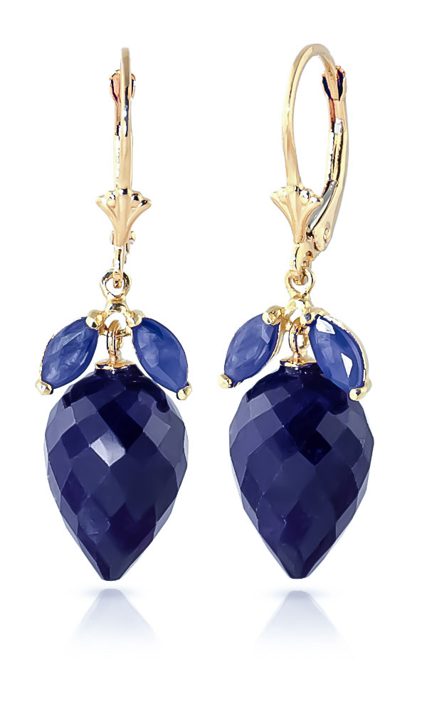 Sapphire Briolette Drop Earrings 26.8 ctw in 9ct Gold
