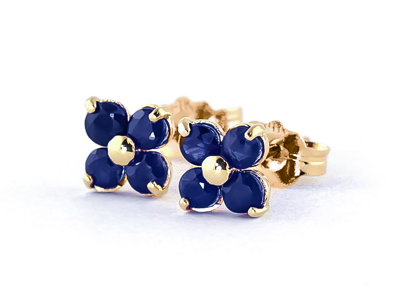 Sapphire Clover Stud Earrings 1.15 ctw in 9ct Gold