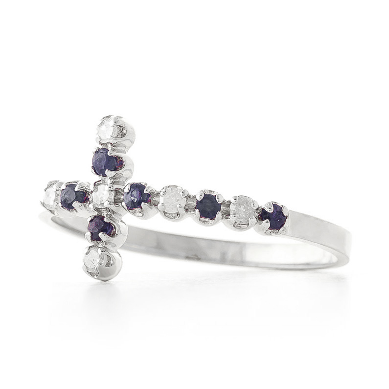 Sapphire Cross Ring 0.24 ctw in 9ct White Gold
