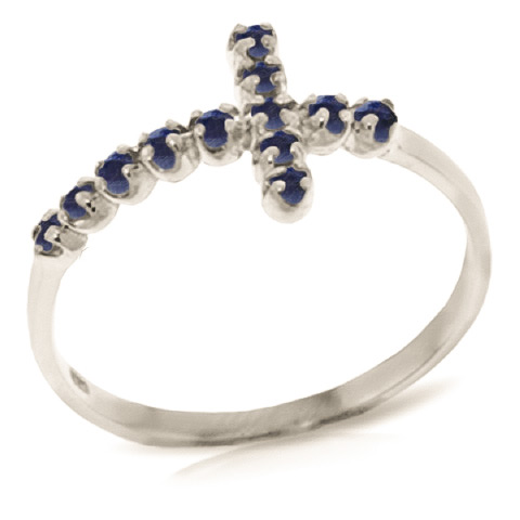 Sapphire Cross Ring 0.3 ctw in 18ct White Gold