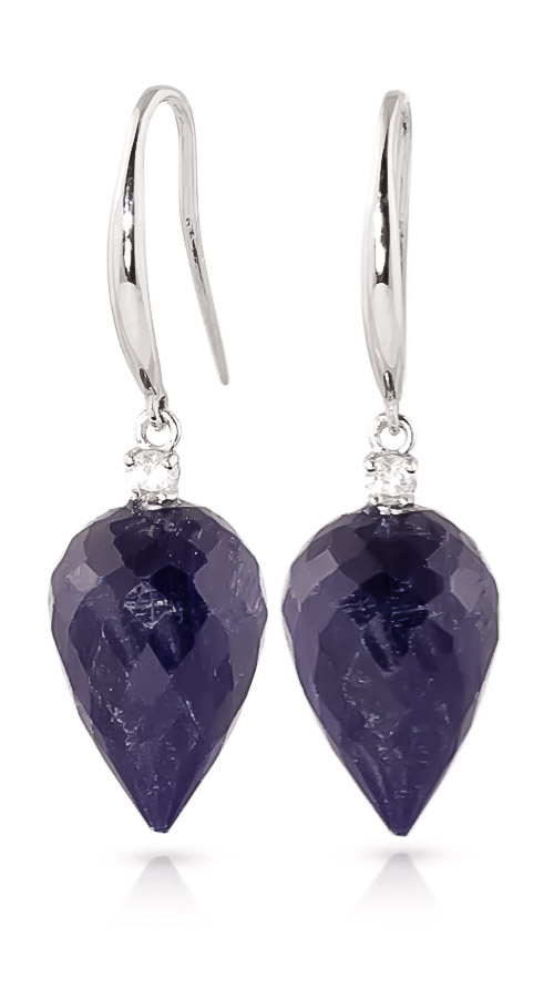 Sapphire Drop Earrings 25.9 ctw in 9ct White Gold