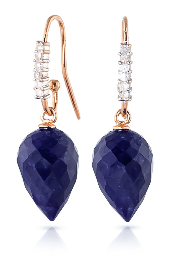 Sapphire Drop Earrings 25.98 ctw in 9ct Rose Gold