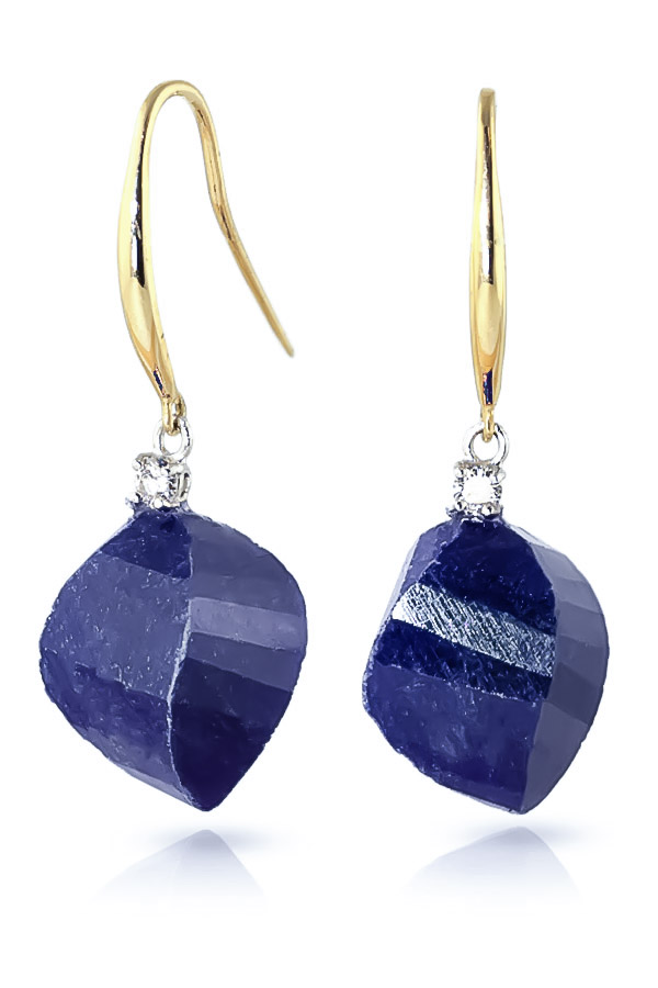 Sapphire Drop Earrings 30.6 ctw in 9ct Gold