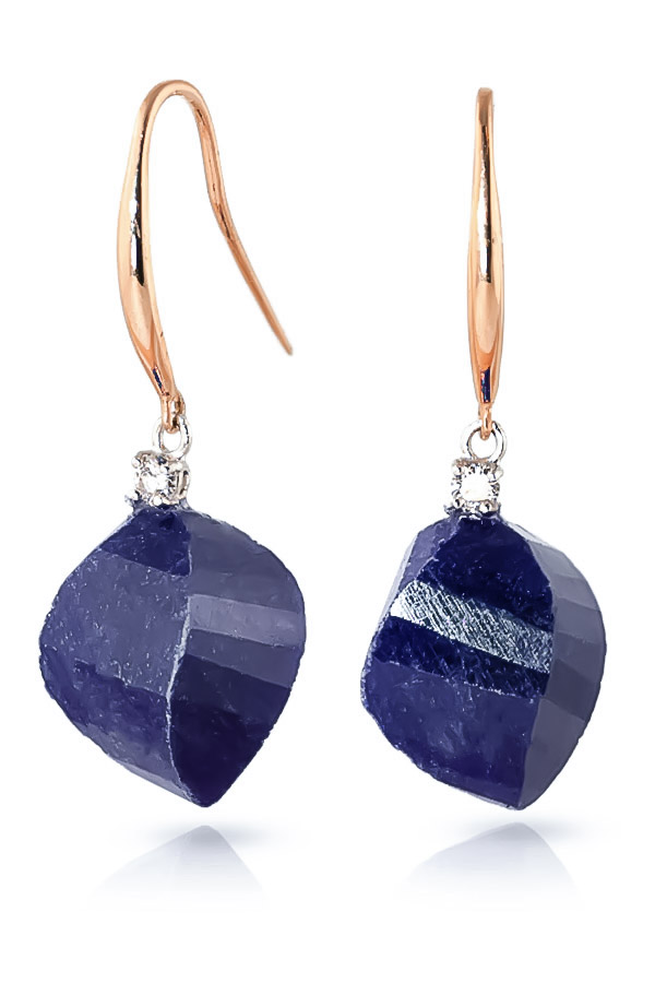 Sapphire Drop Earrings 30.6 ctw in 9ct Rose Gold