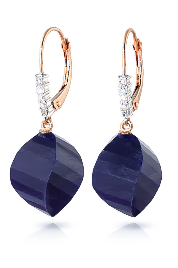 Sapphire Drop Earrings 30.65 ctw in 9ct Rose Gold