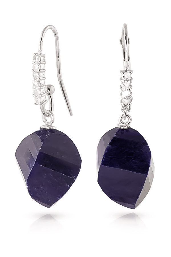 Sapphire Drop Earrings 30.68 ctw in 9ct White Gold