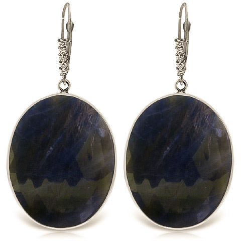 Sapphire Drop Earrings 40.15 ctw in 9ct White Gold