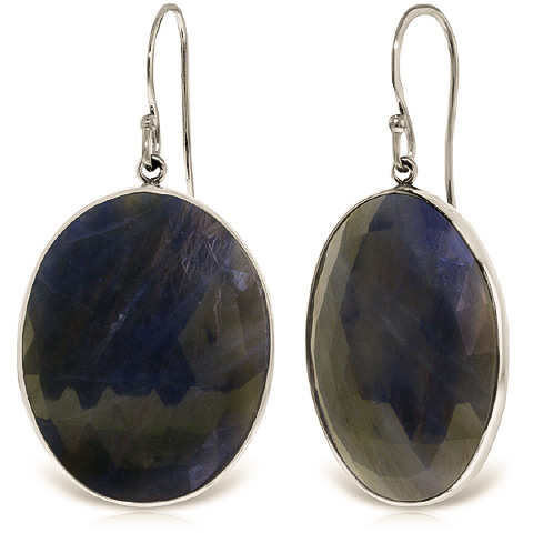 Sapphire Drop Earrings 40 ctw in 9ct White Gold