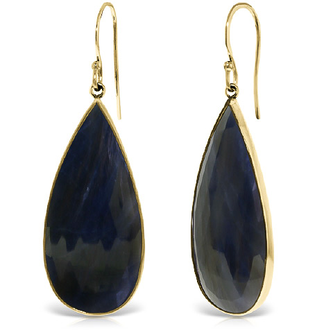 Sapphire Drop Earrings 42 ctw in 9ct Gold