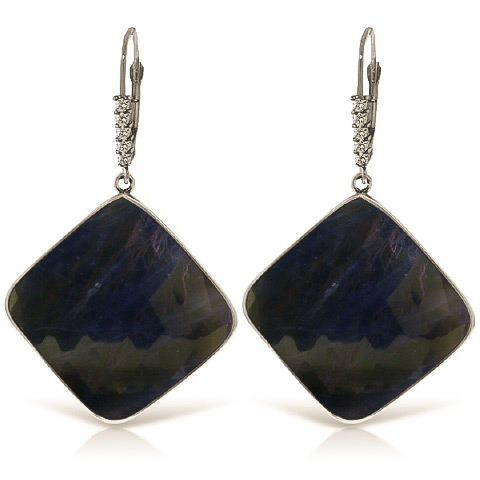 Sapphire Drop Earrings 43.65 ctw in 9ct White Gold