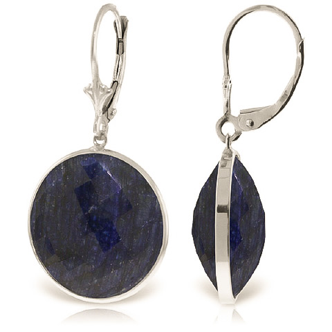 Sapphire Drop Earrings 46 ctw in 9ct White Gold