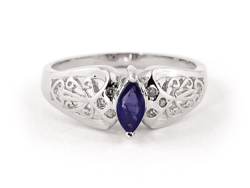 Sapphire Filigree Ring 0.2 ct in 9ct White Gold