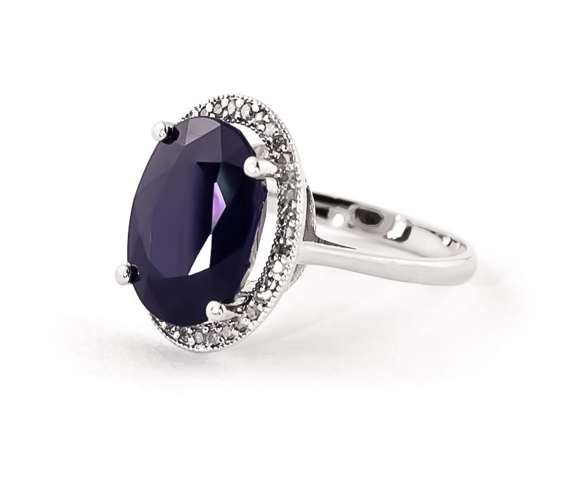 Sapphire Halo Ring 6.58 ctw in 18ct White Gold