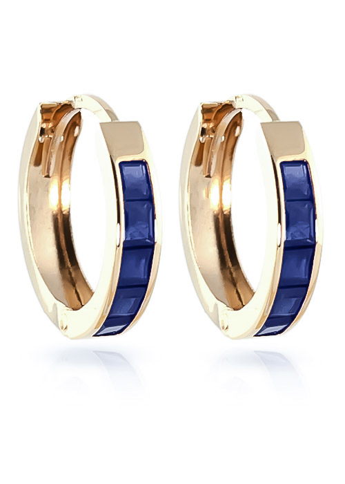 Sapphire Huggie Earrings 1.3 ctw in 9ct Gold