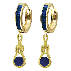 Sapphire Loop Knot Huggie Earrings 1.3 ctw in 9ct Gold