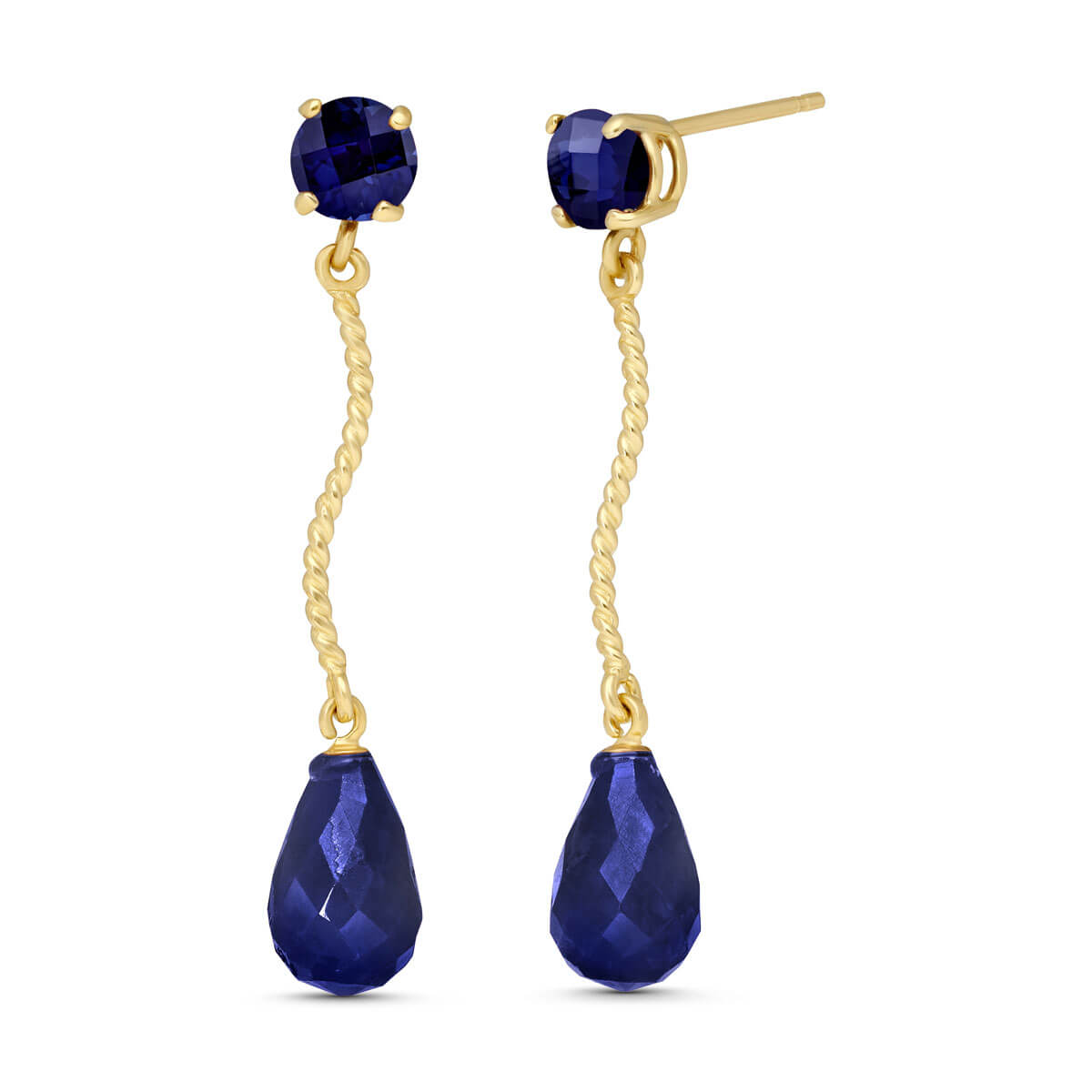 Sapphire Lure Drop Earrings 7.9 ctw in 9ct Gold