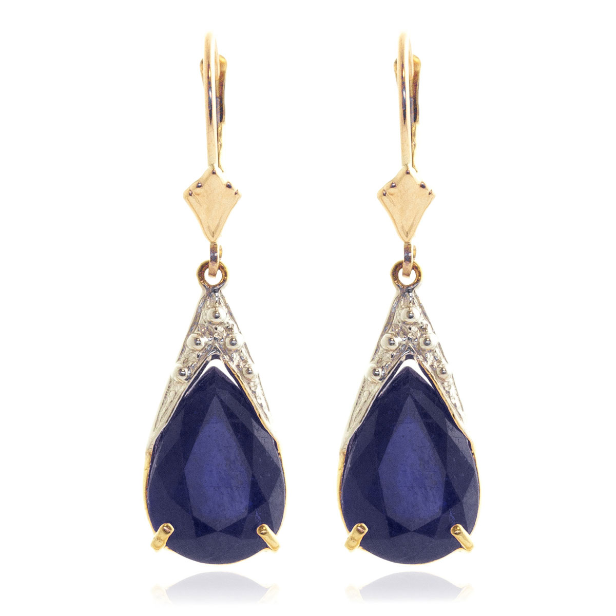 Sapphire Snowcap Drop Earrings 9.3 ctw in 9ct Gold