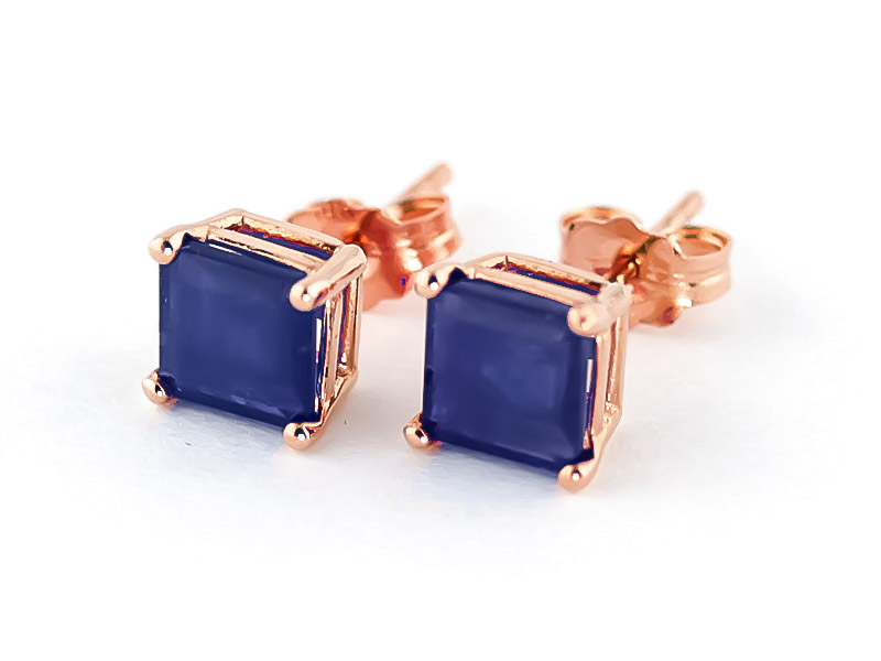 Sapphire Stud Earrings 2.9 ctw in 9ct Rose Gold