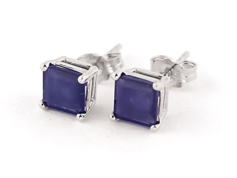 Sapphire Stud Earrings 2.9 ctw in 9ct White Gold