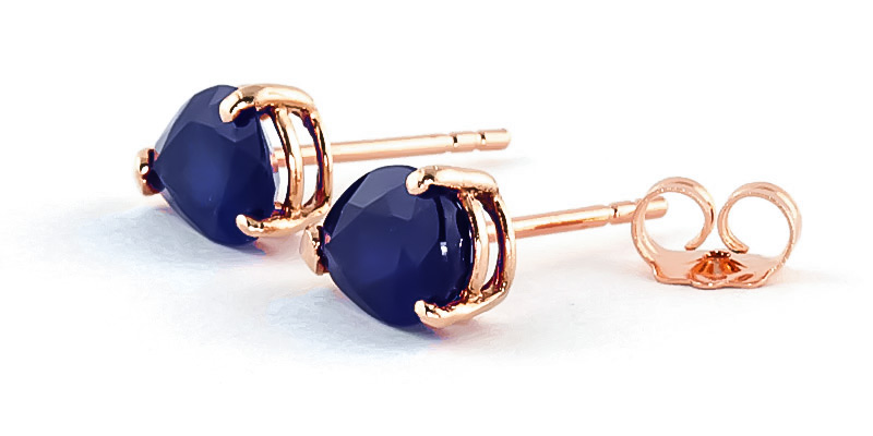 Sapphire Stud Earrings 3 ctw in 9ct Rose Gold