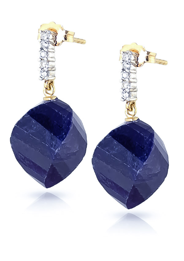 Sapphire Stud Earrings 30.65 ctw in 9ct Gold