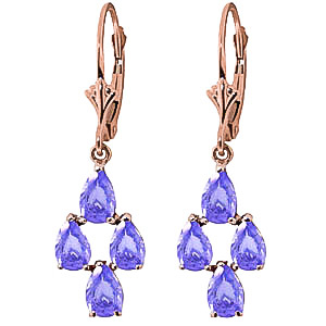 Tanzanite Drop Earrings 4.5 ctw in 9ct Rose Gold