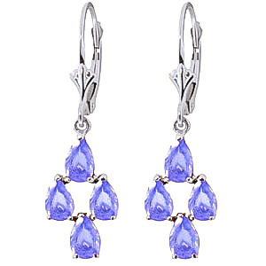 Tanzanite Drop Earrings 4.5 ctw in 9ct White Gold