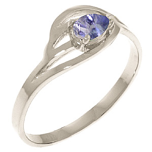 Tanzanite Pear Strand Ring 0.3 ct in 9ct White Gold