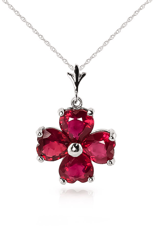 Ruby Four Leaf Clover Heart Pendant Necklace 3.6ctw in 9ct White Gold