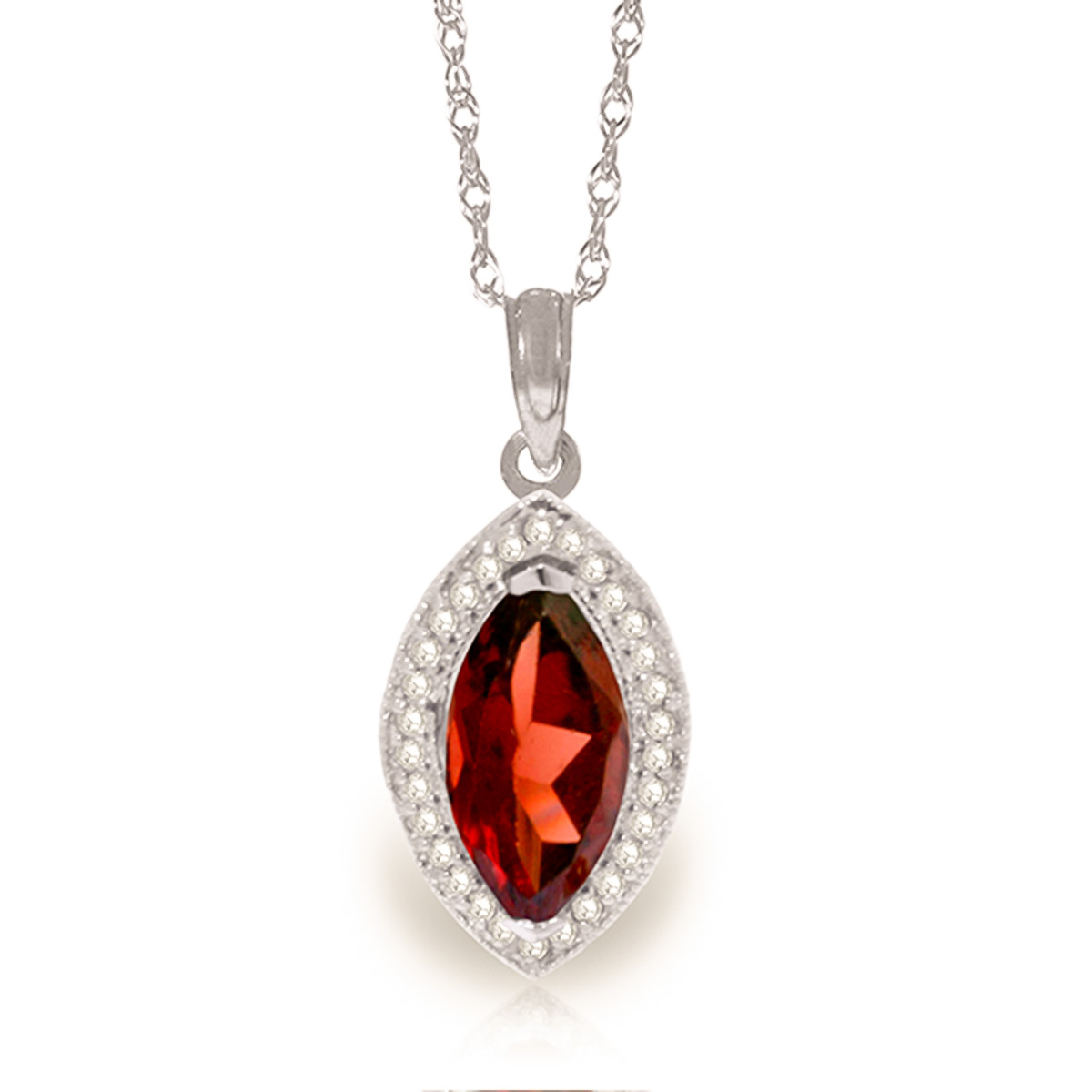 Garnet and Diamond Halo Pendant Necklace 2.0ct in 9ct White Gold