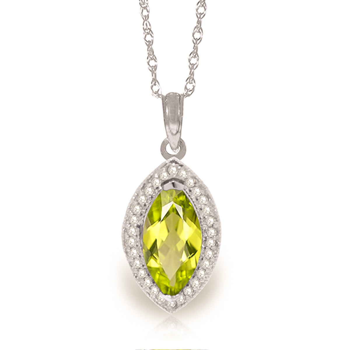 Peridot and Diamond Halo Pendant Necklace 2.0ct in 9ct White Gold