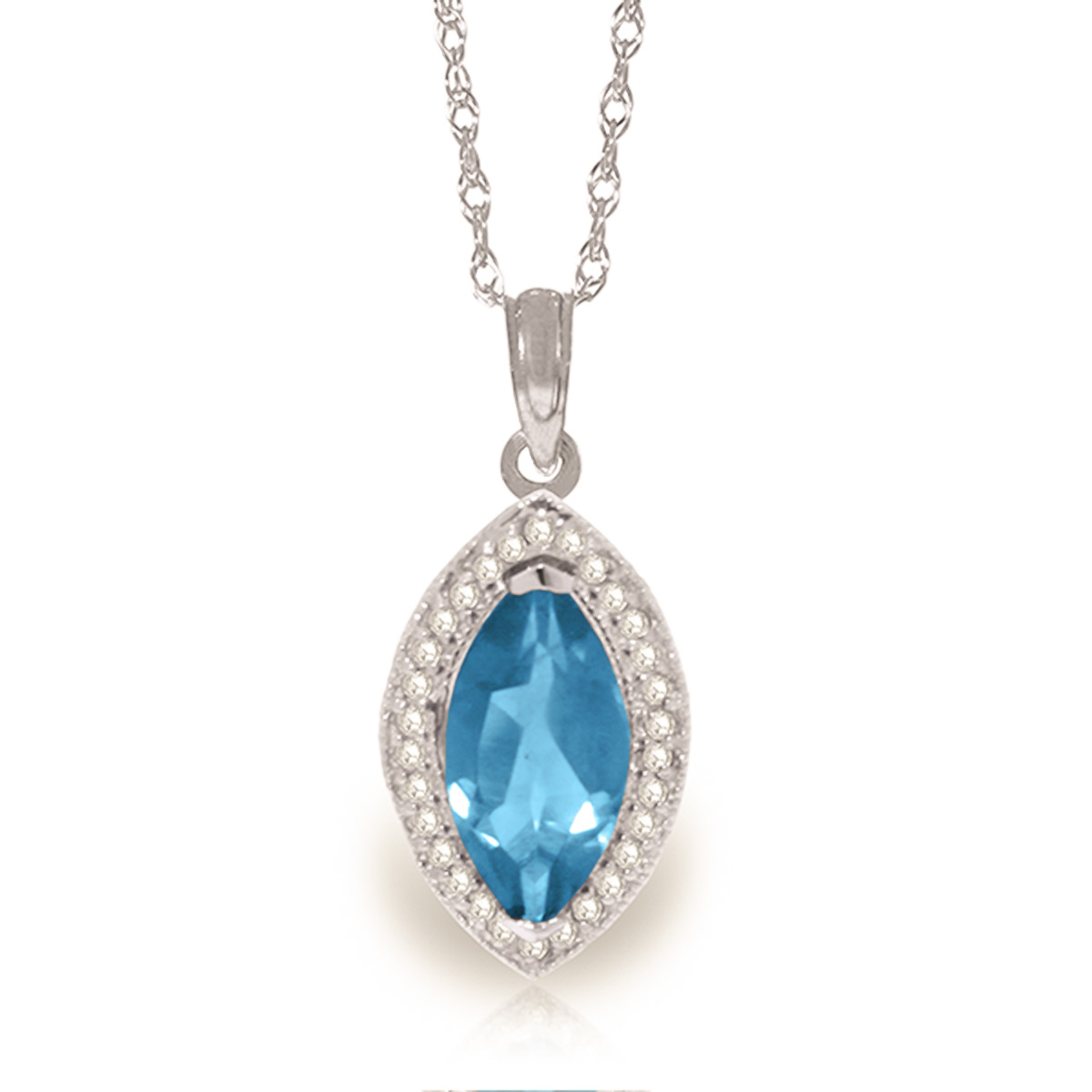 Blue Topaz and Diamond Halo Pendant Necklace 2.25ct in 9ct White Gold