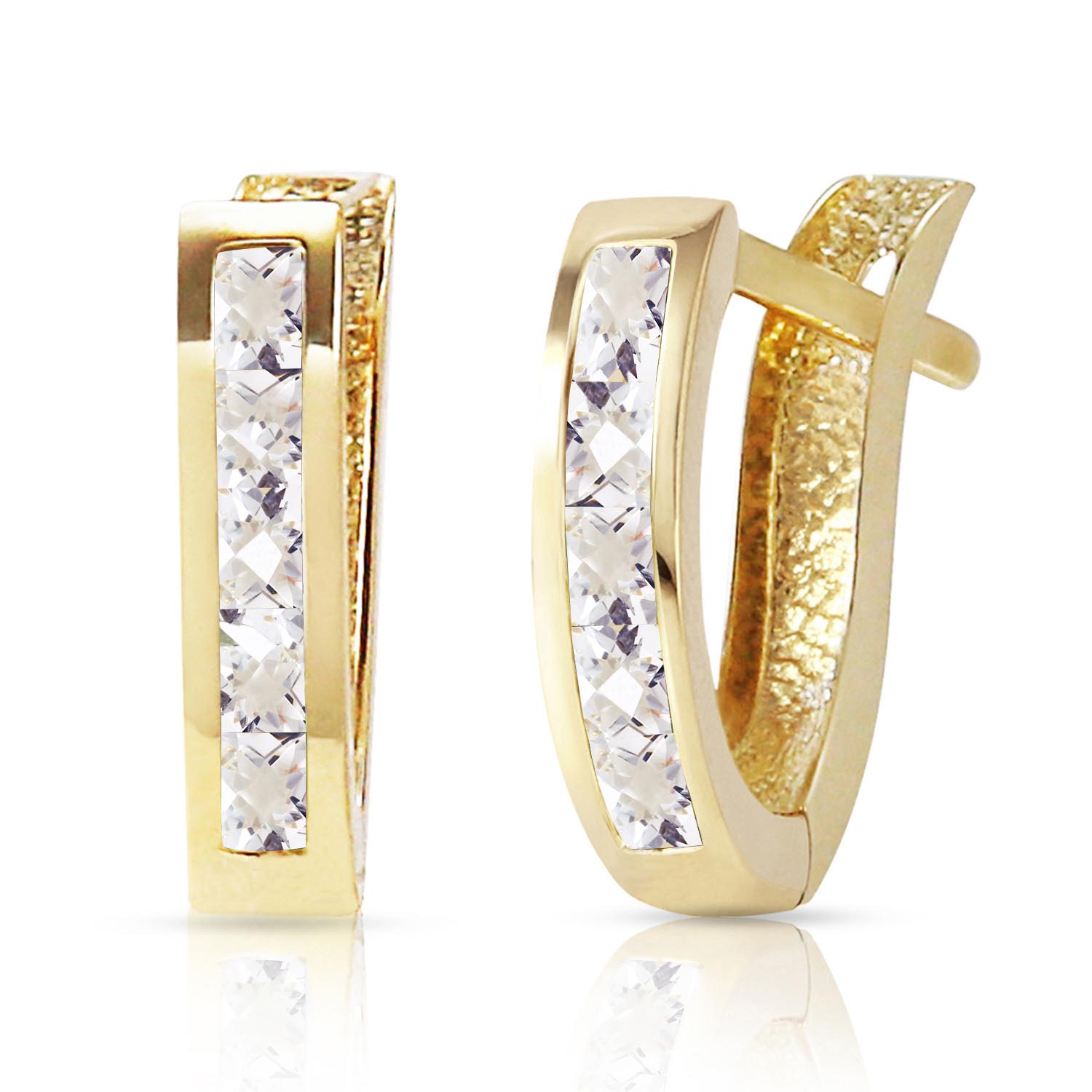 White Topaz Acute Huggie Earrings 1.2 ctw in 9ct Gold
