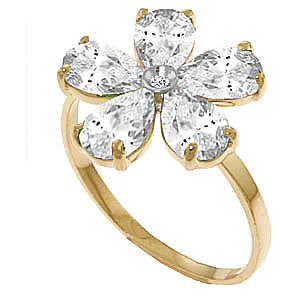 White Topaz & Diamond Five Petal Ring in 9ct Gold