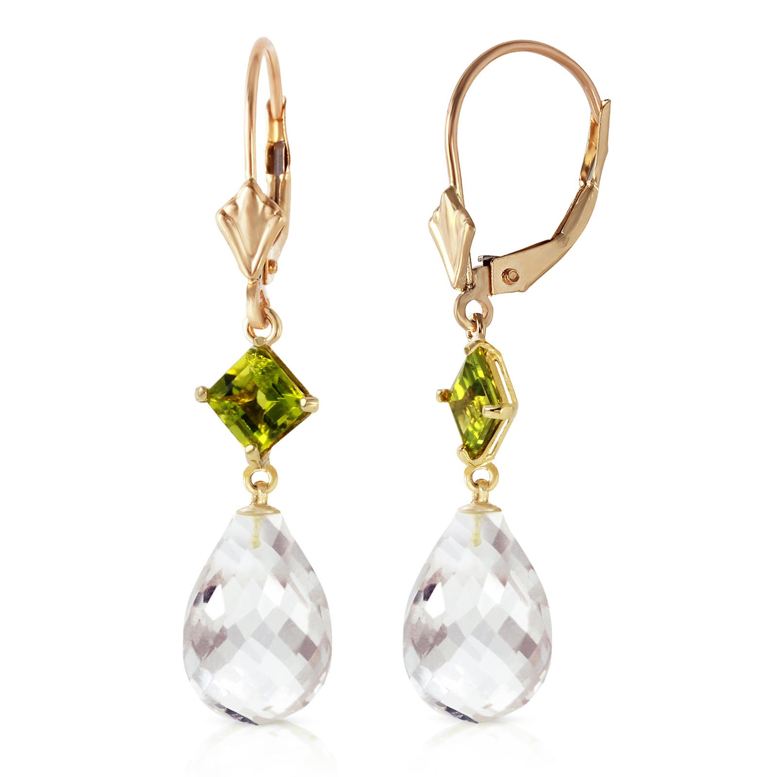 White Topaz & Peridot Drop Earrings in 9ct Gold