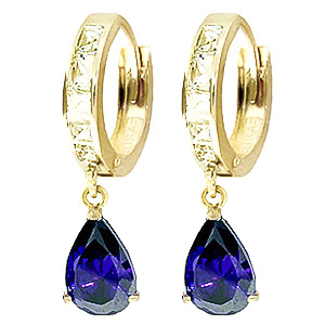 White Topaz & Sapphire Droplet Huggie Earrings in 9ct Gold