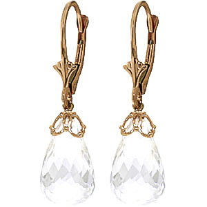 White Topaz Crown Drop Earrings 14 ctw in 9ct Gold