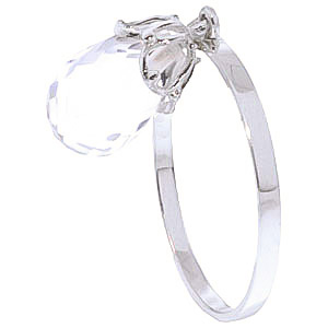 White Topaz Crown Ring 3 ct in 9ct White Gold