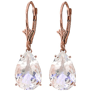 White Topaz Drop Earrings 10 ctw in 9ct Rose Gold